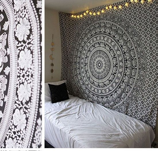 Black And White Hippie Mandala Tapestry | Easy Tumblr Decor Bedroom Ideas  For Teen Girls |