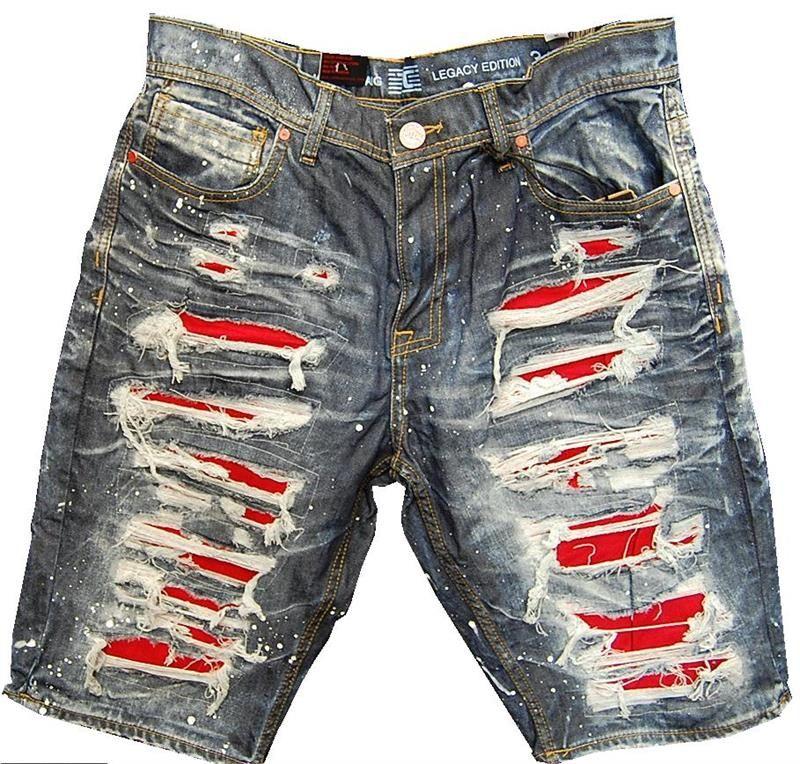 c1d9e882d5 Jordan Craig Ripped Red Slit Distressed Shorts   Men's Shorts ...