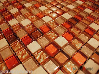 Sample Marble Glass Mosaic Tile Orange Gold Kitchen Backsplash