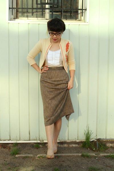 brown tweed vintage skirt