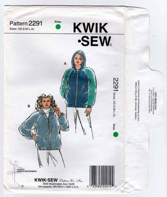 Kwik Sew 2291 Women S Front Zip Jacket Or Hoodie Sewing Pattern