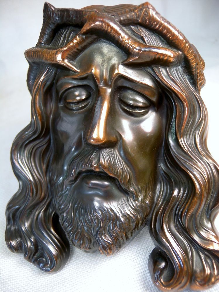 RARE Vintage Cast Bronze Holy face of Jesus Shroud of Turin