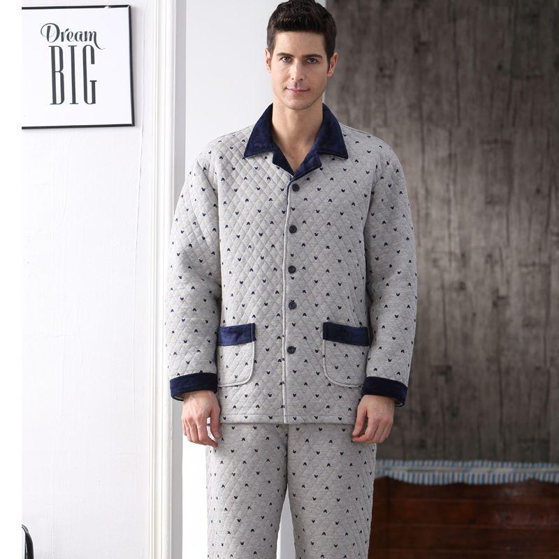 b8f8af519b Cotton Autumn Men Pajama Set Full Sleeve Winter Thick Pyjima Sleepwear  Casual Polka Dot Warm Sleep