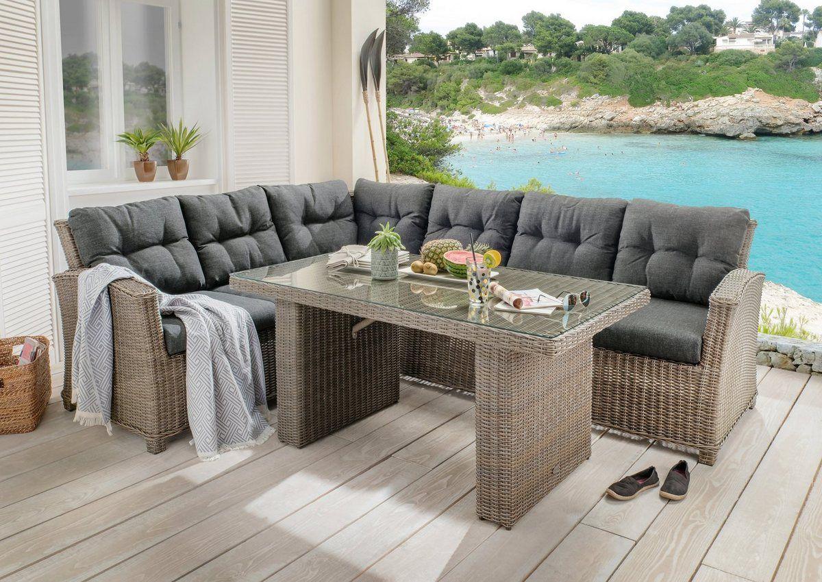 Loungeset Riviera 15 Tlg 3er Sofa Tisch 80x145 Cm Polyrattan 2er Sofa Gartenmobel Und Polyrattan