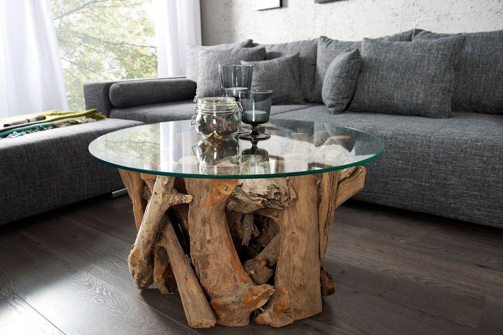 Handgearbeiteter Couchtisch Riverside 60cm Teakholz Runde Glasplatte Riess Ambiente De Couchtisch Holz Glas Couchtisch Couchtisch Glas Design