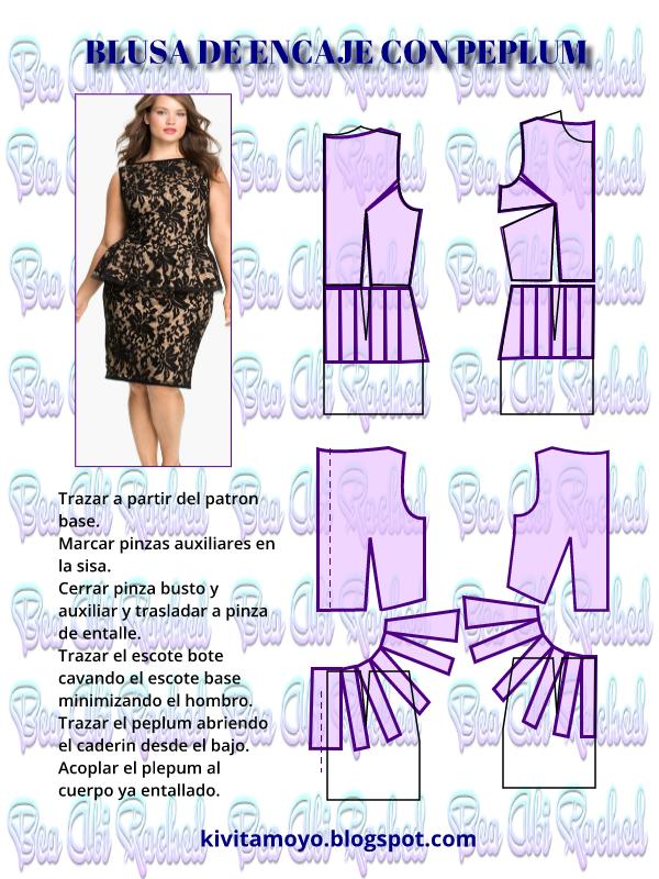 KiVita MoYo: BLUSA DE ENCAJE CON PEPLUM | costuras | Pinterest