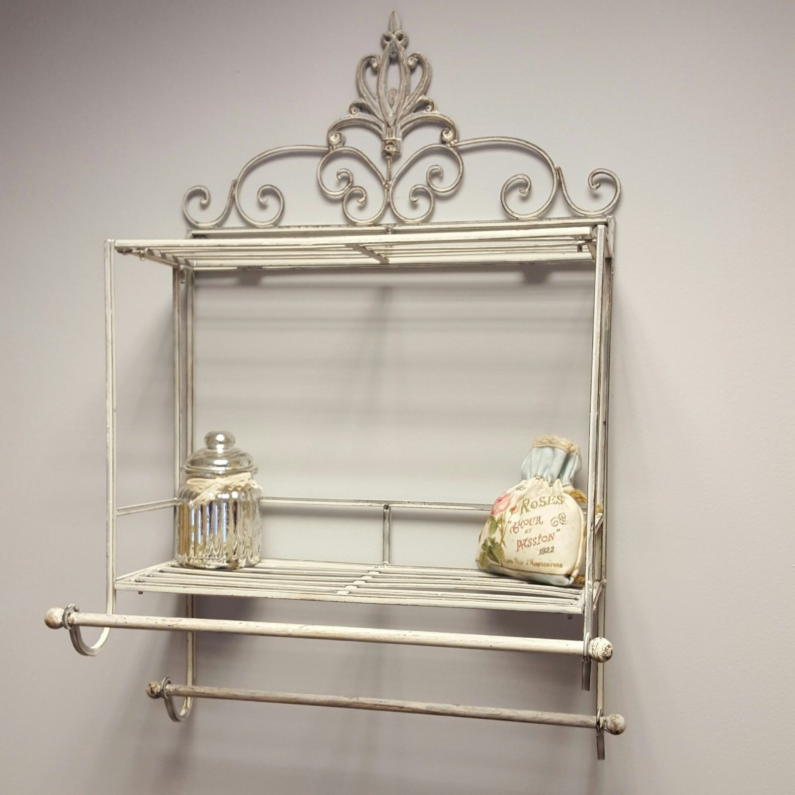 Shabby Chic Metal Wall Shelf Towel Rail Rack Storage Cabinet Bathroom  Kitchen | EBay