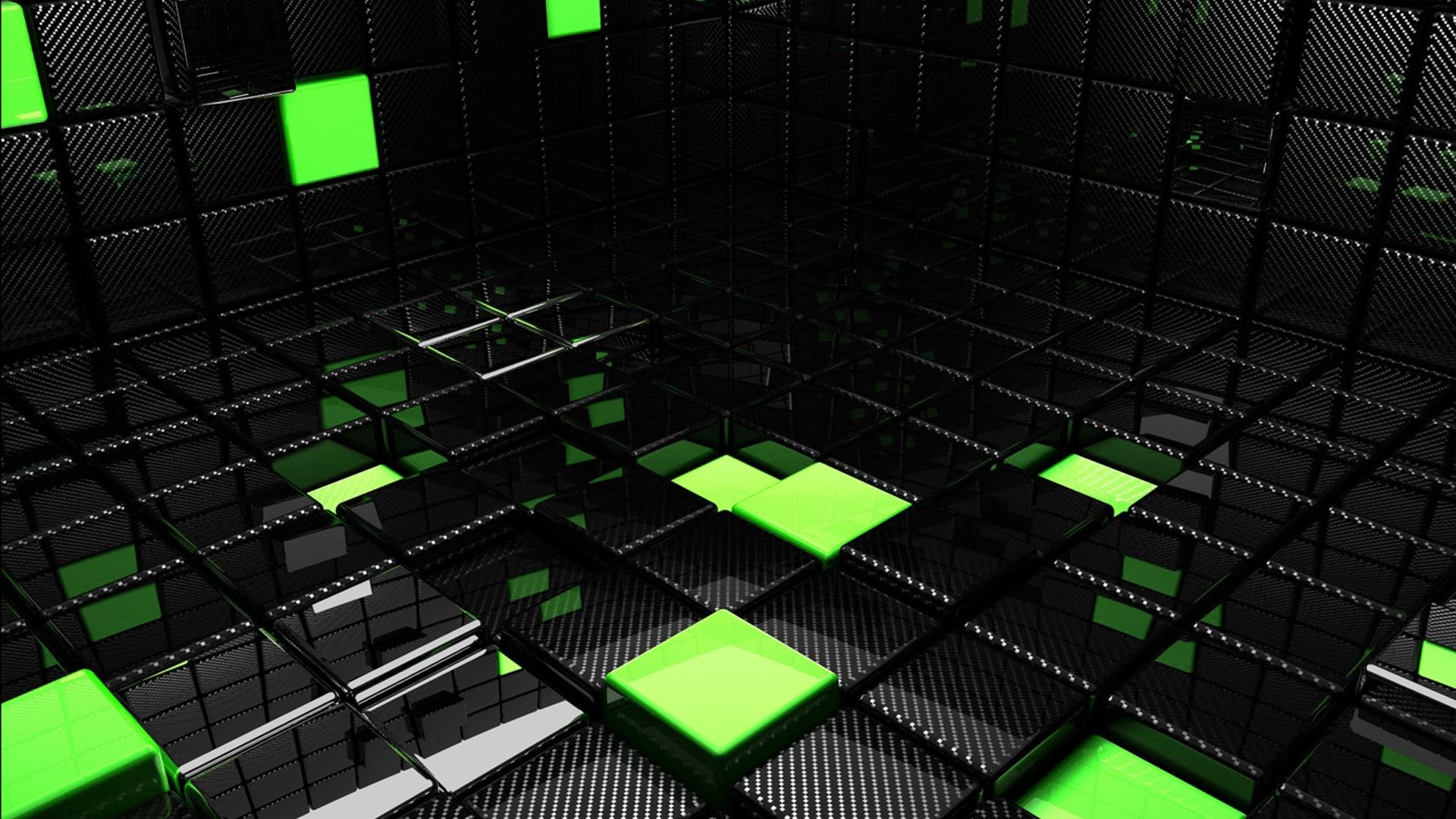 Download Wallpaper 1920x1080 Cube Square Green Black Space Full Hd 1080p Hd Background Abstrak Api Seni