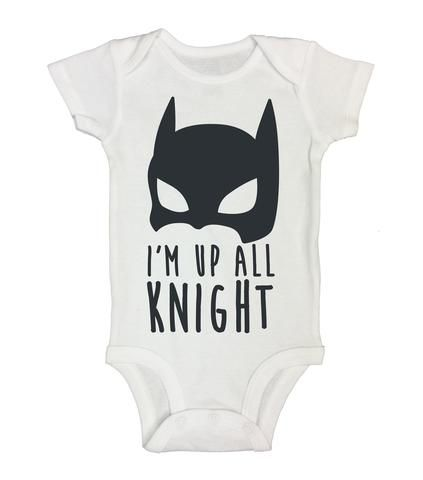 "Batman Inspired Baby Onesie ""Im Up All Knight"" RB Clothing Company"