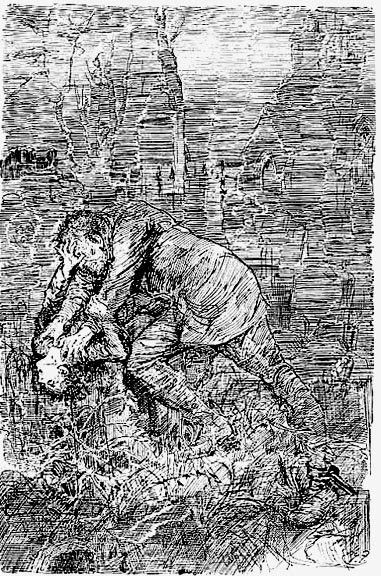 "‎""After darkly looking at his leg and at me several times, he came closer to my tombstone, took me by both arms, and tilted me back as far as he could hold me; so that his eyes looked most powerfully down into mine, and mine looked most helplessly up into his."" -- Charles Dickens, Great Expectations  (Illustration by Harry Furniss)"