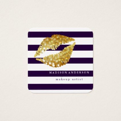 #makeupartist #businesscards - #Navy Blue & White Chic Gold Lips - Makeup Artist Square Business Card