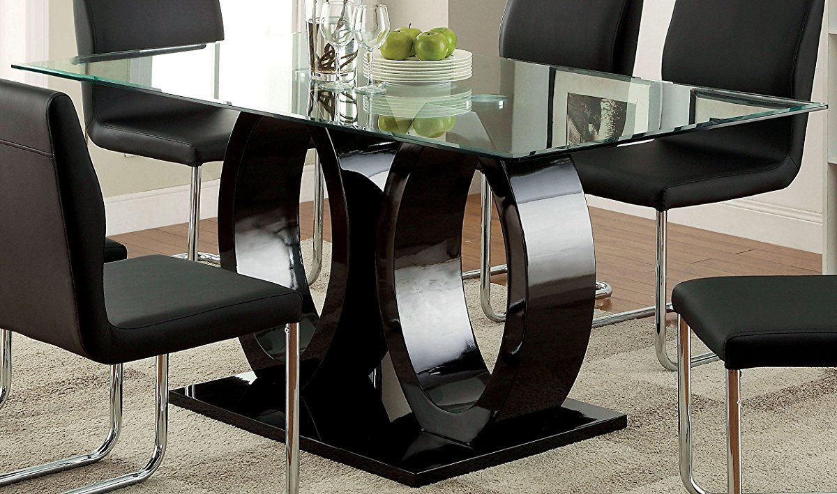 Furniture Of America Quezon Glass Top Double Pedestal Dining Table Black Glass Top Dining Table Glass Dining Room Table Double Pedestal Dining Table