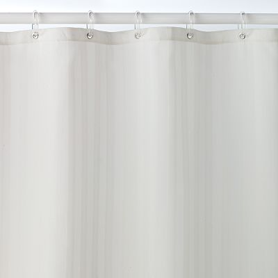 Home Classics® Striped Damask Fabric Shower Curtain Liner:  I'm avoiding chemical laden materials like vinyl.