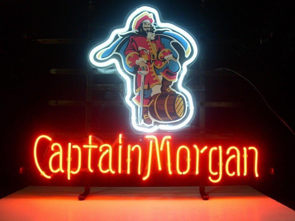 Captain Morgan Real Glass Neon Light Sign Home Beer Bar