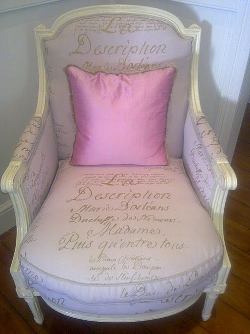 Louis the 16th Bergere Style Chair, upholsted in scripted fabric ...