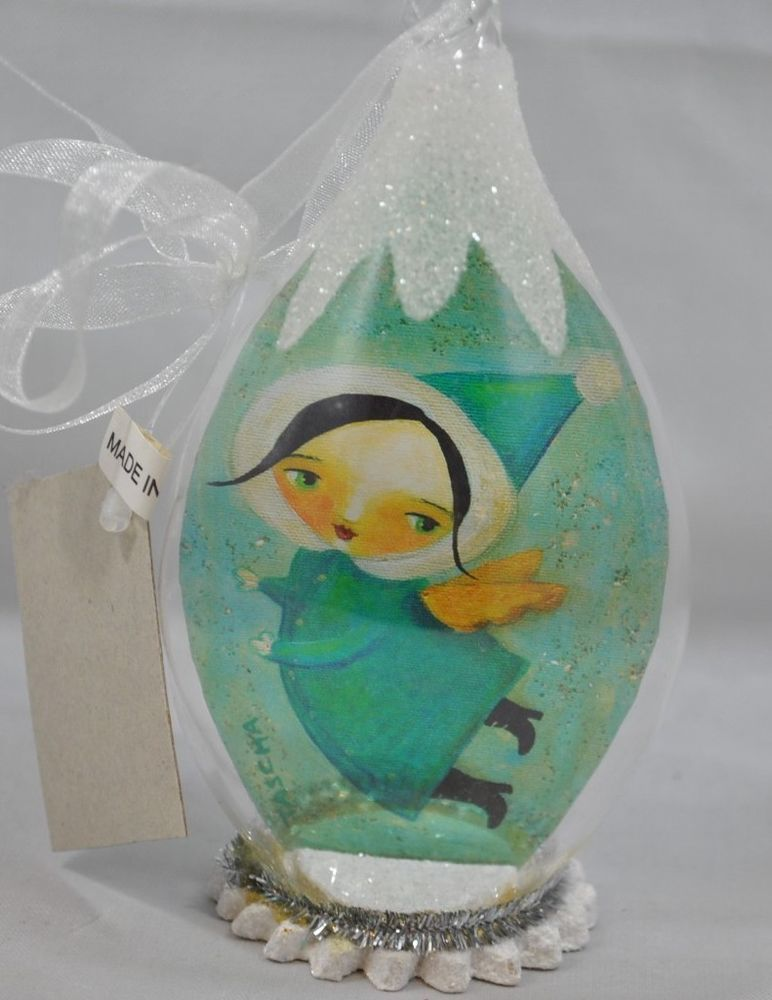 RARE NEW Tascha World Glass Angel Girl w// Blue Hat Christmas Ornament Dome Snow