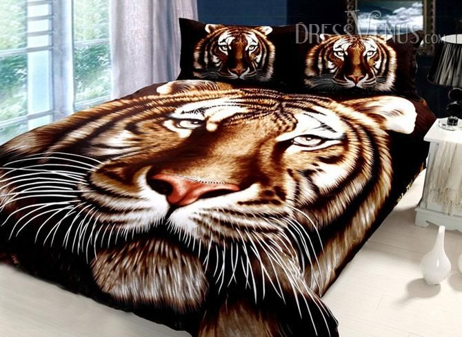 US$109.99 Realistic Tiger Pattern 4 Piece Cotton Bedding Sets with Active Printing . #Bedding #Tiger #Active #Cotton