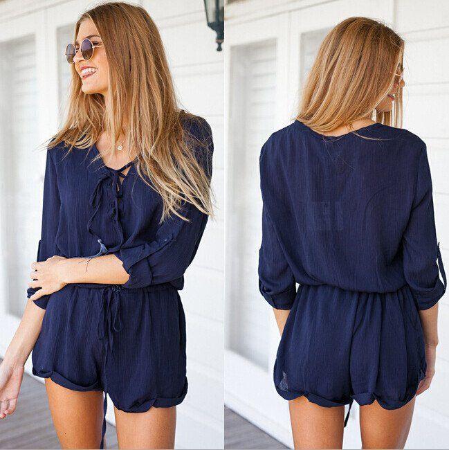 Fashion pure color long sleeve Jumpsuits [L65591]