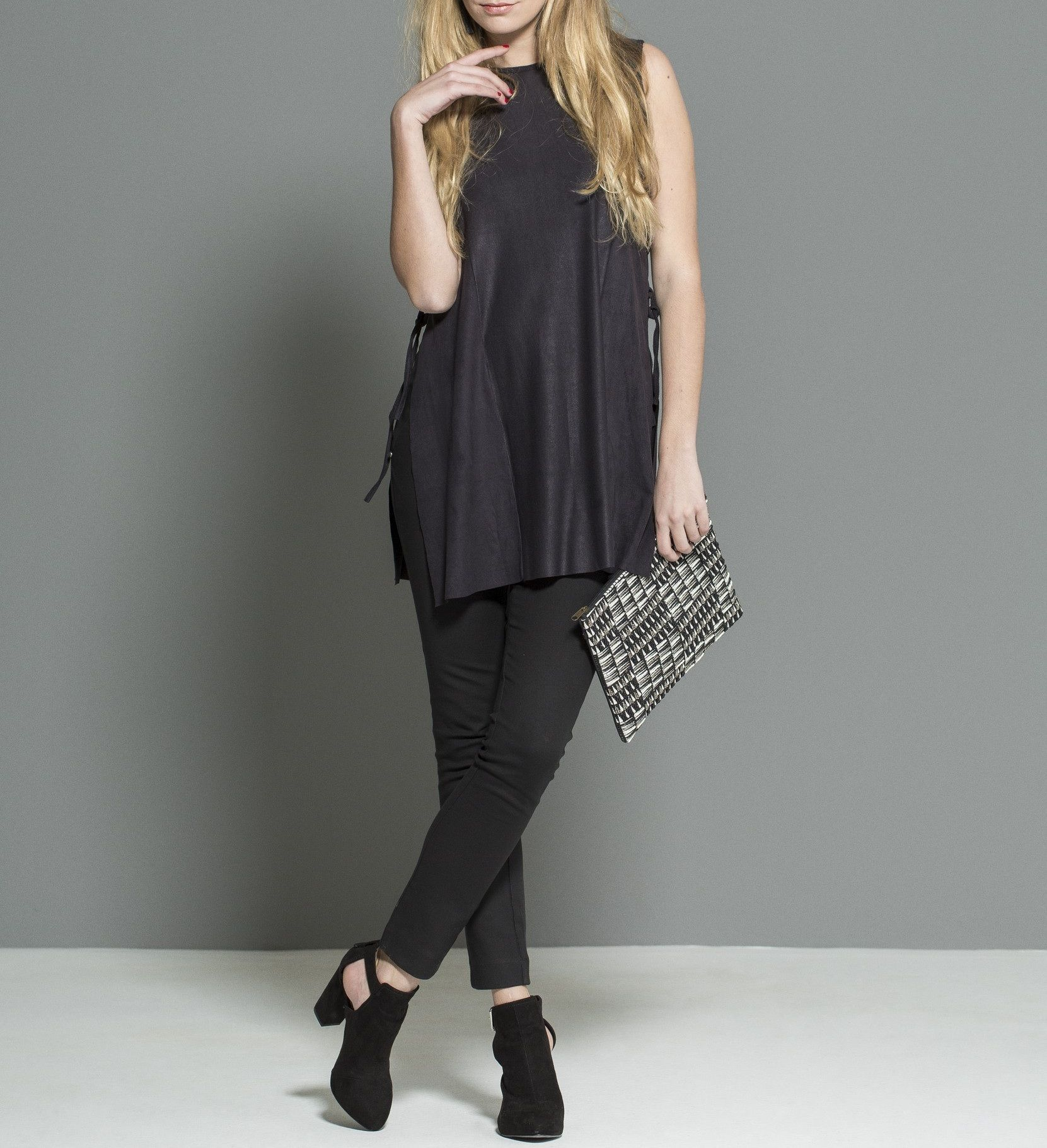 T suede lace on the sides #T-shirt #black #woman #suede