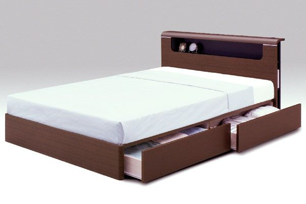 Bedroom brown wooden double bed with storage white for Double bed with drawers and mattress