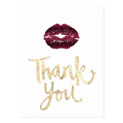 Thank You Dark Red Lips Postcard Script Gifts Template Templates