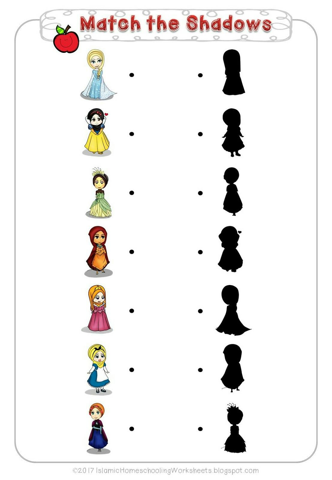 Match The Shadows In Free Disney Princess Preschool Pack Islamic Version