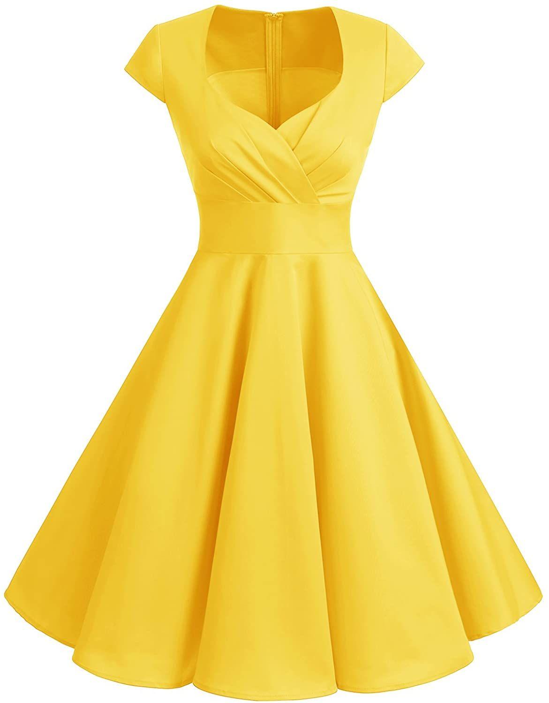 Amazon.com: Bbonlinedress Women Short 1950s Retro Vintage Cocktail Party Swing Dresses Champagne M