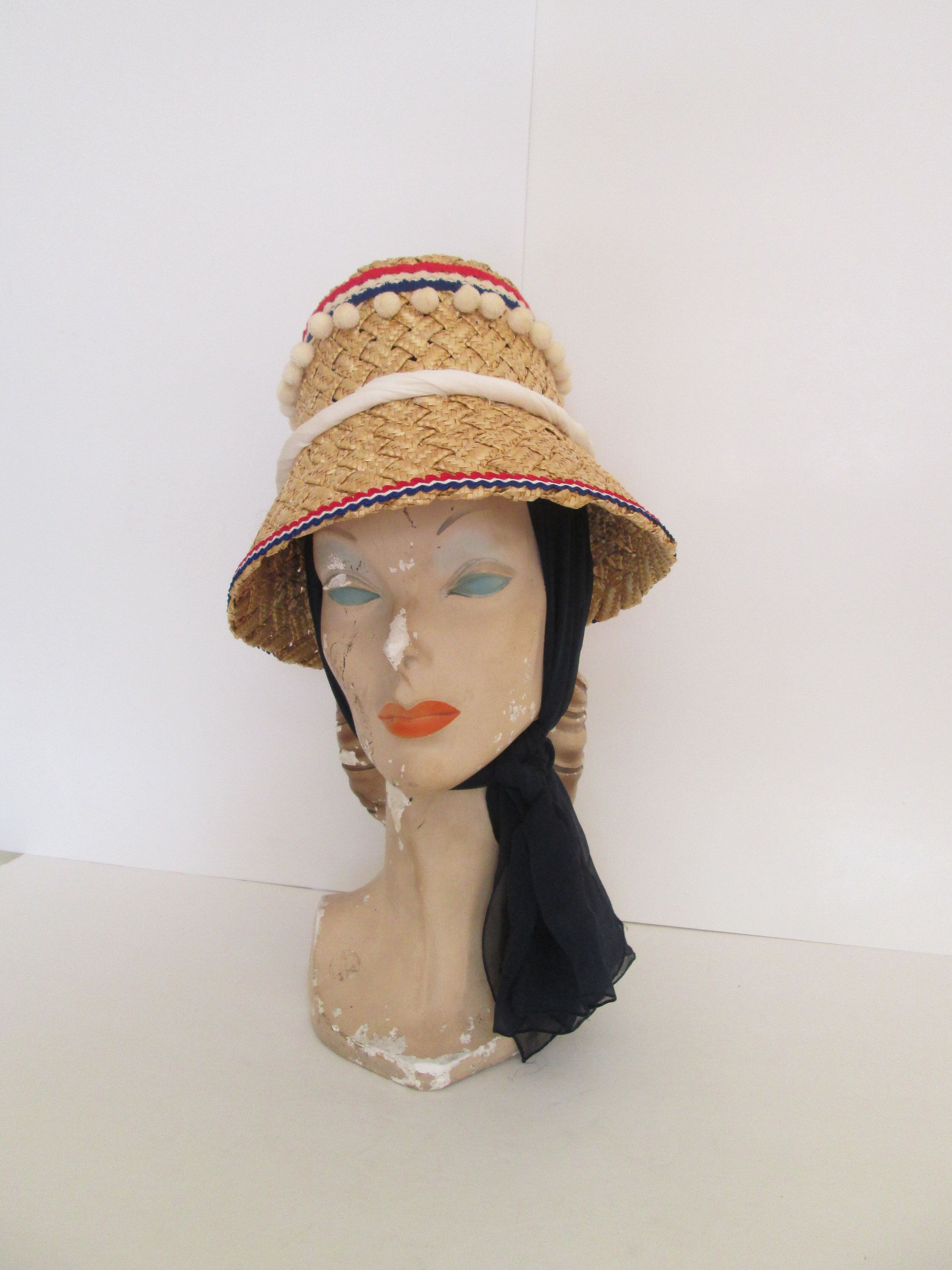 6334ee8e851 French Riviera Vintage 1950s 50s Atomic Cone Straw Wicker Hat w Pompoms   amp  Scarf