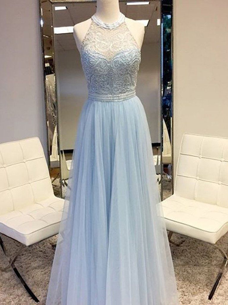 Sexy prom dresses halter aline light sky blue tulle prom dress