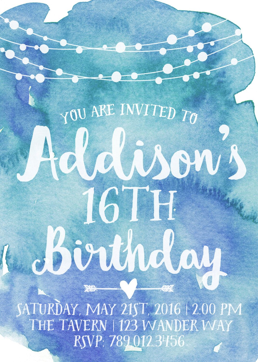 16th Birthday Party Invitation Printable Watercolor Invite Boho