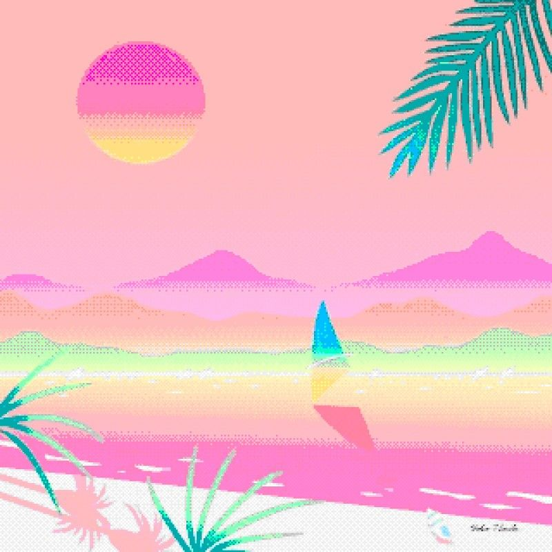 Vaporwave tropical. Aesthetic and
