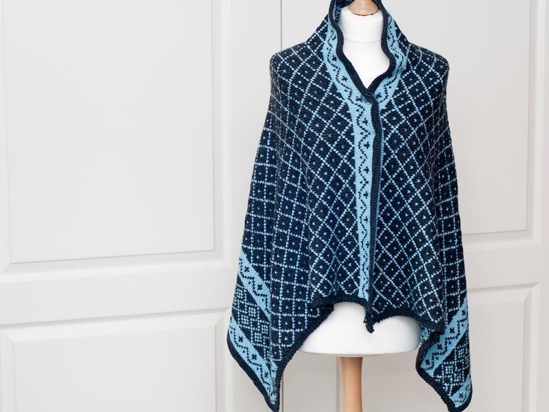 (6) Name: 'Knitting : 'Enya' - Rectangle Fair Isle Shawl