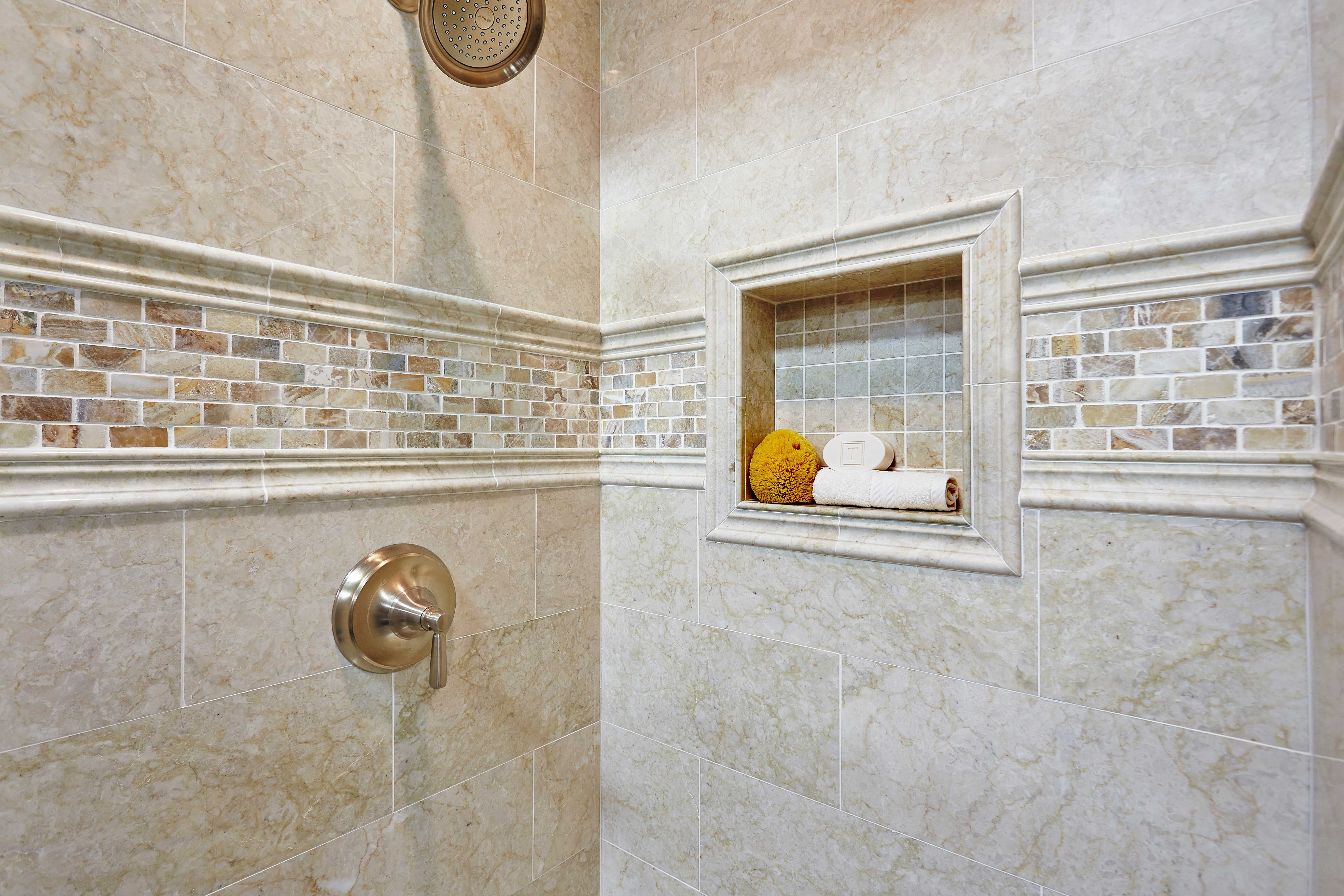 Bathroom shower accent tile - Teraporto Listello Travertine Mosaic ...