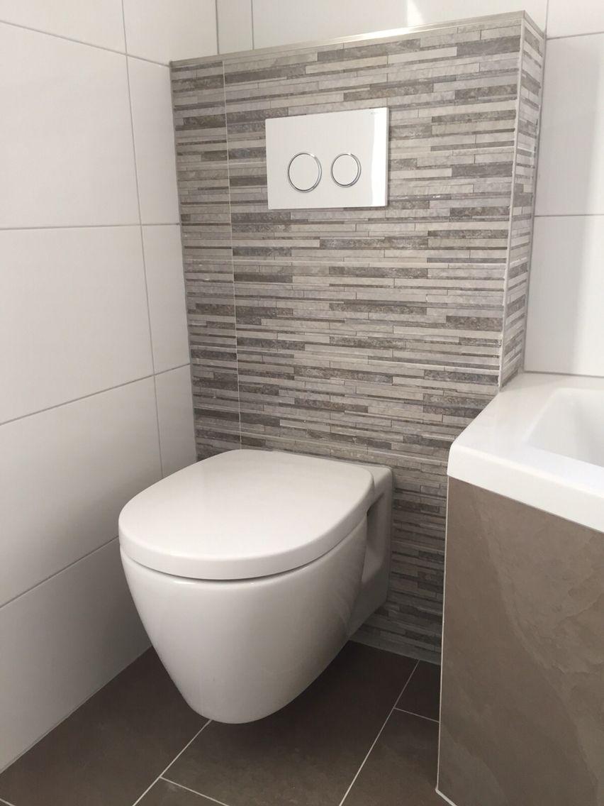 Toilet met taupe steenstrips badkamer pinterest taupe badkamer en wc - Wandbekleding voor wc ...