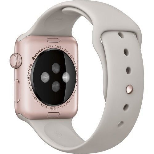 Apple Watch Sport 42mm Rose Gold Aluminum Case with Stone Sport Band  Apple Watch 'The most personal device' has all-new interactions and technologies. They let you do familiar things more quickly and conveniently. Rose Gold anodized aluminum case, Ion-X glass, Digital CrownRetina display with Force Touch Rose Gold anodized aluminum case, Ion-X glass, Digital CrownRetina display with Force Touch Speaker and microphone, Wi-Fi (802.11b/g/n 2.4GHz), Bluetooth 4.0 Rose Gold anodized alum..