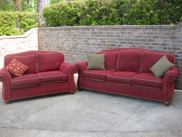 Manufacturer Ethan Allen Whitney Sofa And Love Seat Excellent Condition Primary Red Fabric With Leather Trim Around Cushions All C