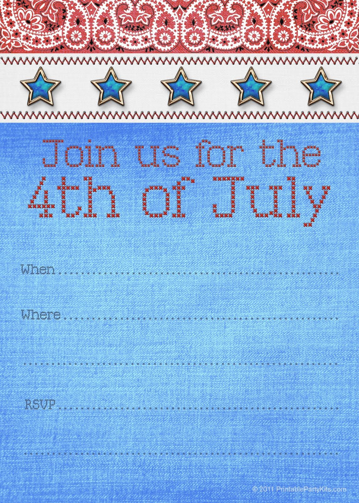 image relating to Free Printable Patriotic Invitations referred to as No cost printable 4thof July invitation template against