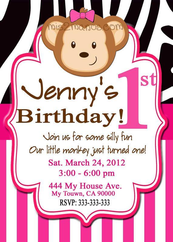Monkey Birthday Invitation Pink Zebra Green by M2MPartyDesigns 4th