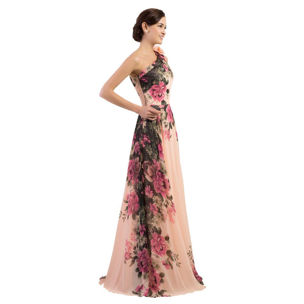 One shoulder long printed flower evening bridesmaid dress shoulder