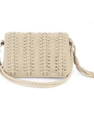ANNE WEYBURN Plaited Flap Bag with Long Adjustable Handle