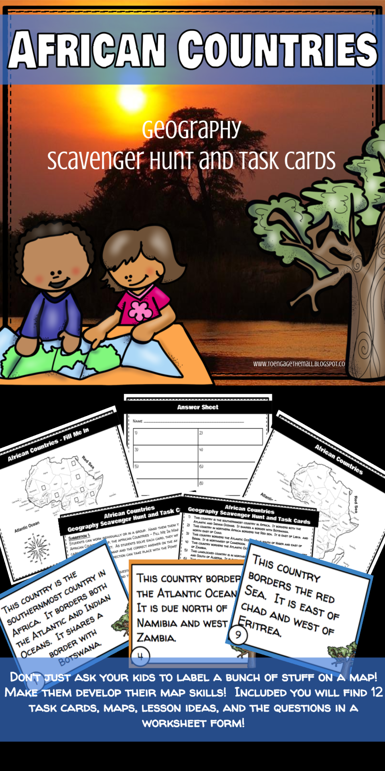 African Countries Geography Scavenger Hunt And Task Cards