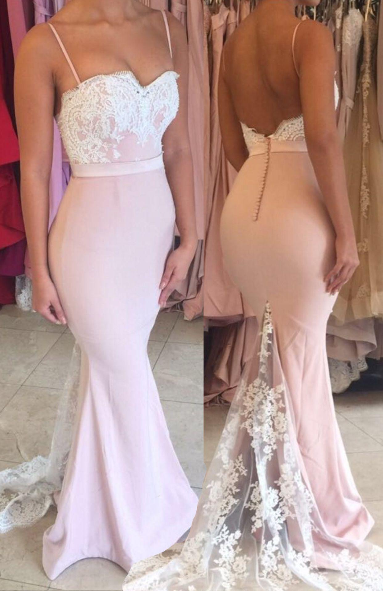 Mermaid pearl pink prom dress spaghetti straps backless sweep