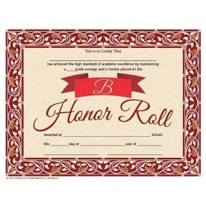 b honor roll certificate 30pack downloadable templates available to personalize or can be handwritten - B Honor Roll Certificate Template