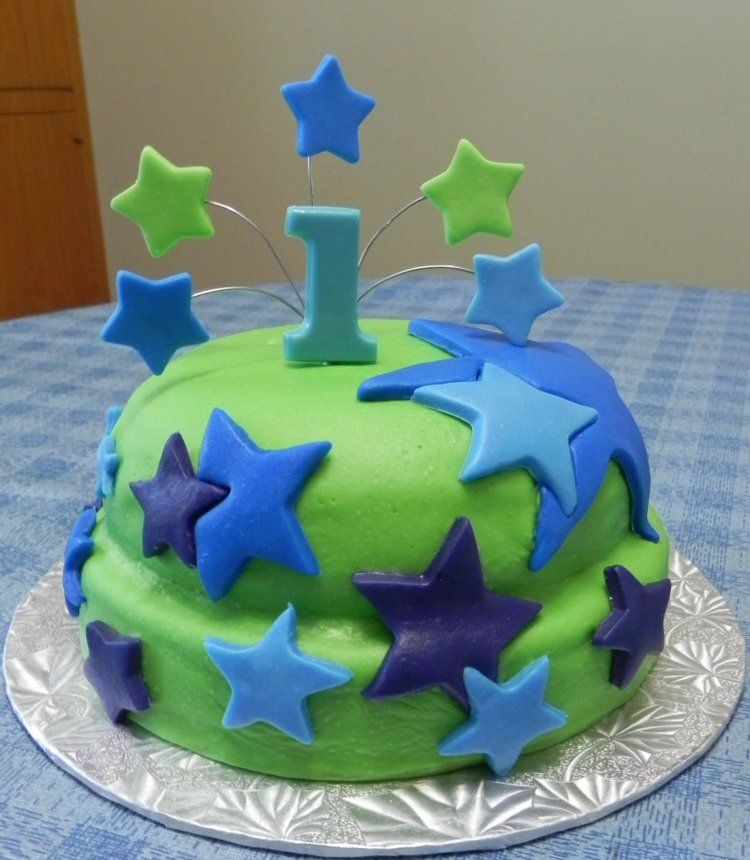 Kuchen Kindergeburtstag Fondant Torte Junge Ein Jahr Kinderparty