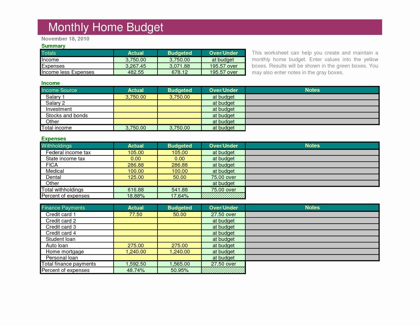 Unique Free Budget Spreadsheet Xlstemplate Xlssample