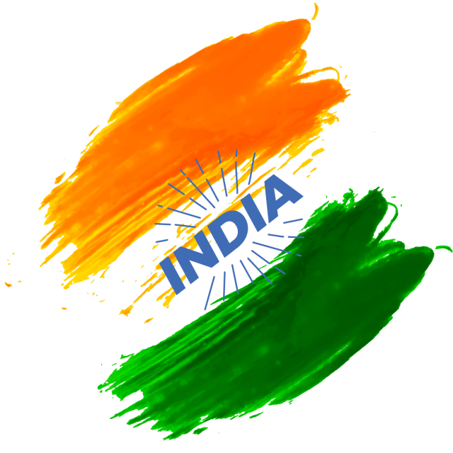 India Independence Day Brush Color Splash Badge, India