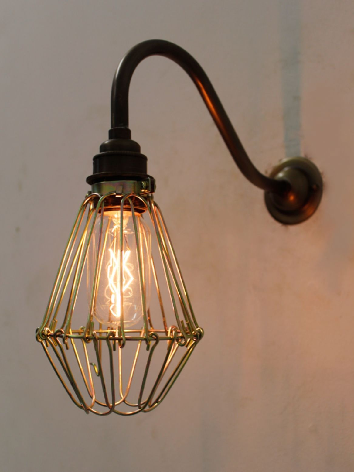 Industrial style cage light in brass wall lights industrial industrial style cage light in brass wall lights industrial pinterest industrial style industrial and antique brass aloadofball Images