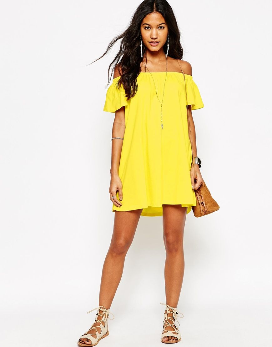 ASOS Off Shoulder Mini Dress at asos.com | Mini dresses and Shoulder