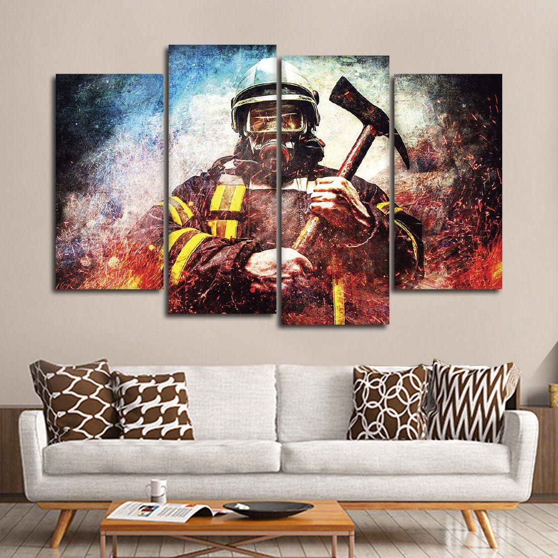 Textured Firefighter Mask Multi Panel Canvas Wall Art In 2020 Canvas Wall Art Multi Panel Canvas Wall Art