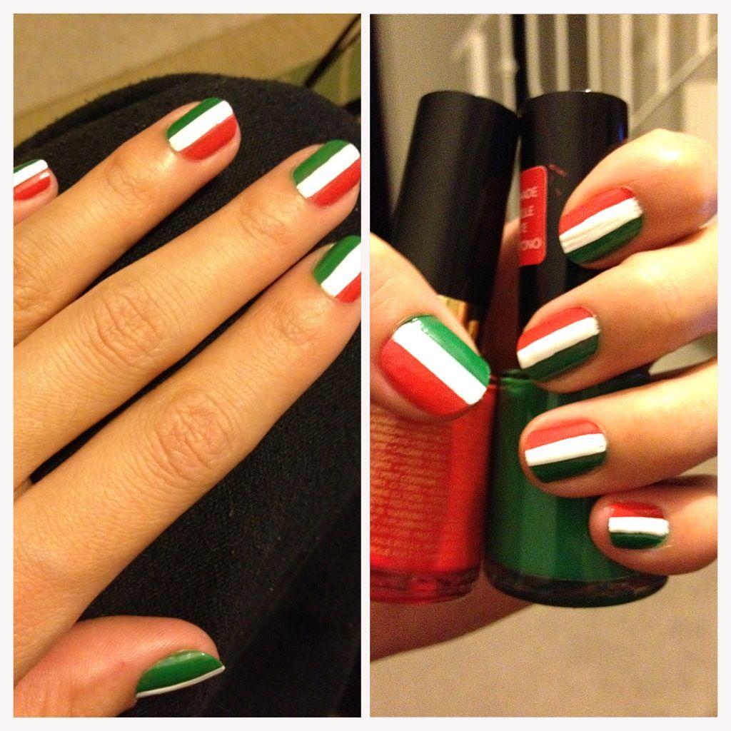 Italian flag nails | Nail Art | Pinterest | Flag nails, Italian ...